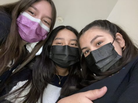 MAHS students Melany Ochoa, Lesly Gonzalez and Eleny Peral, all juniors, having a good time with some safety precautions.