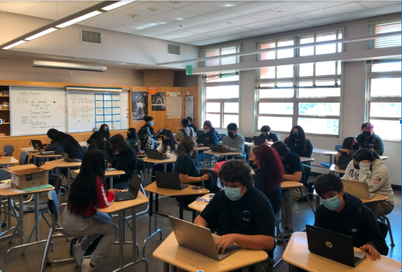 Maywood Academy High School students in class during Covid-19 pandemic.
